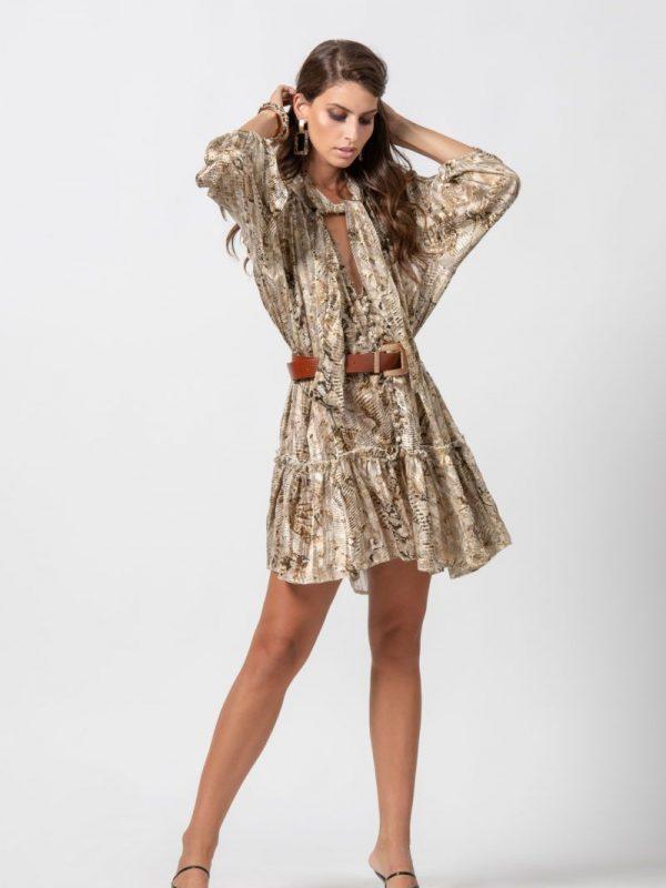 Φόρεμα με δέσιμο διαφάνεια lurex ύφανσης print