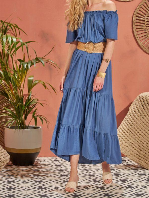 Φόρεμα maxi solid με λάστιχο μέσης