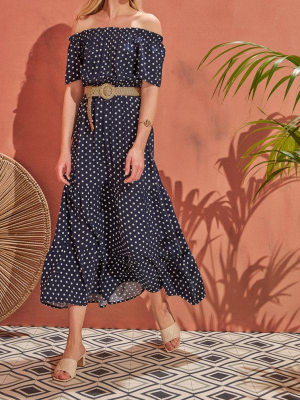 Φόρεμα maxi polka dots
