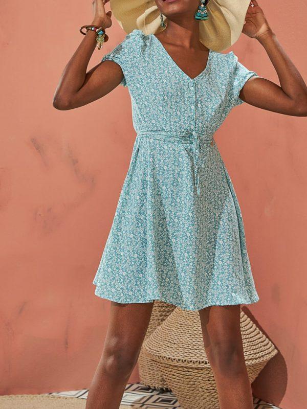 Φόρεμα liberty mini με κουμπιά