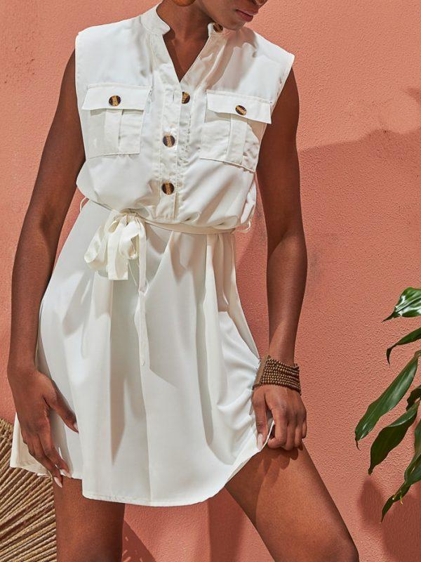 Φόρεμα αμάνικο safari με κουμπιά