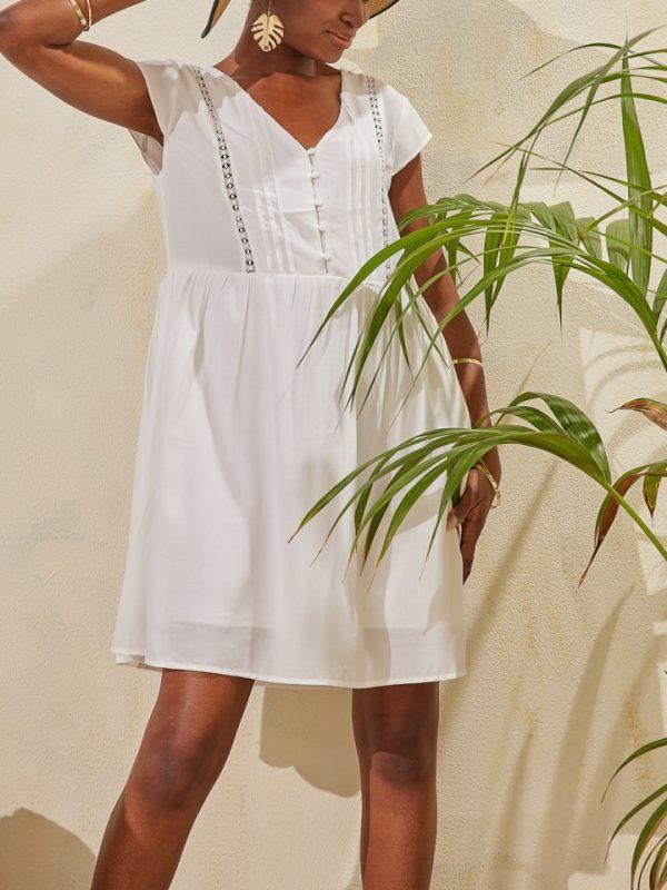 Φόρεμα μίνι με λεπτομέρεια δαντέλα