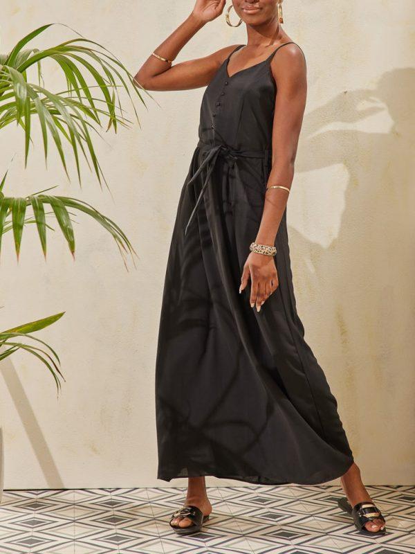 Φόρεμα maxi τιράντα με ζώνη