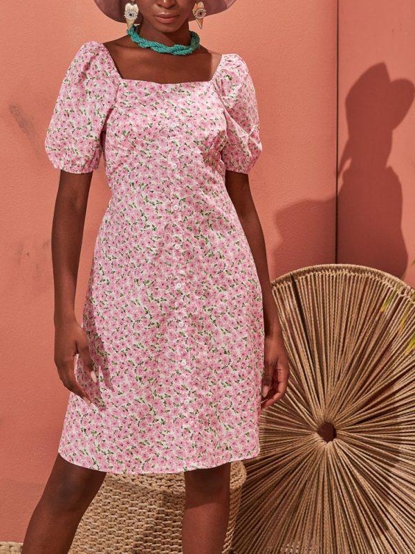 Φόρεμα μίνι liberty τετράγωνο ντεκολτέ