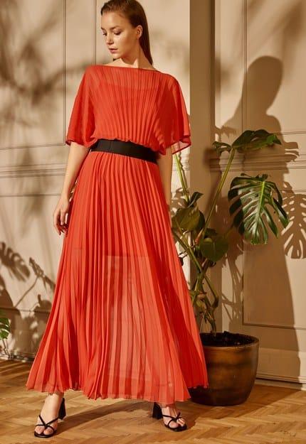 Φόρεμα πλισσέ μακρύ double