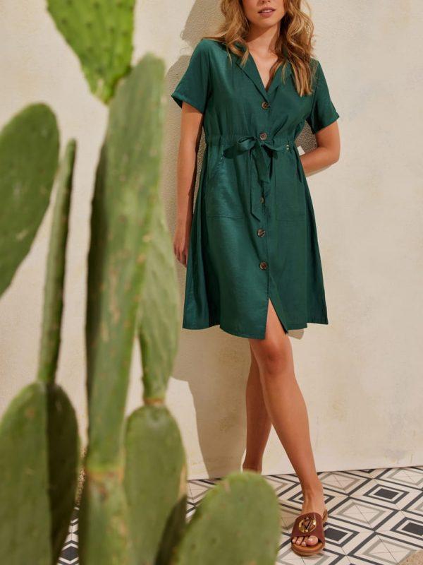 Φόρεμα μίνι με κουμπιά safari