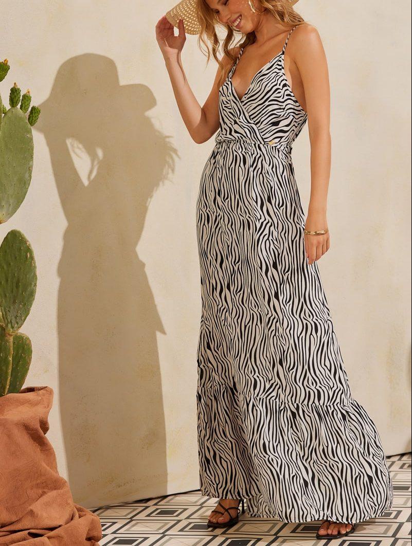 Φόρεμα maxi zebra pattern