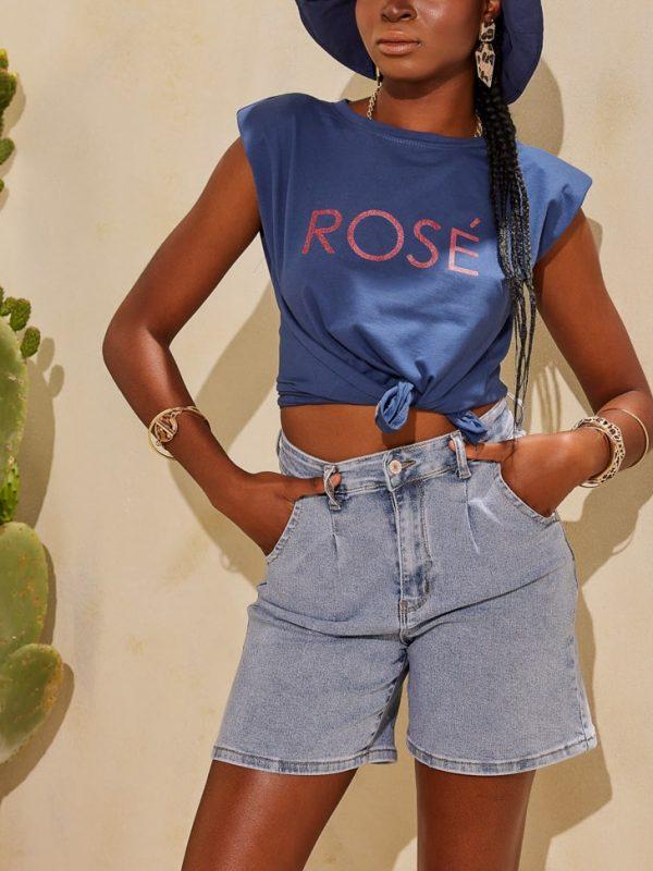 T-shirt με βάτες τύπωμα ROSE