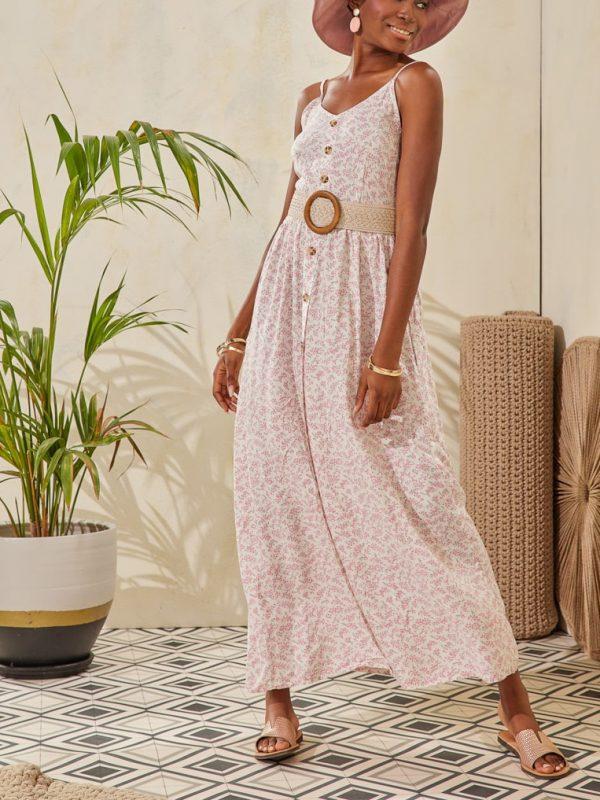 Φόρεμα maxi flower print με ζώνη