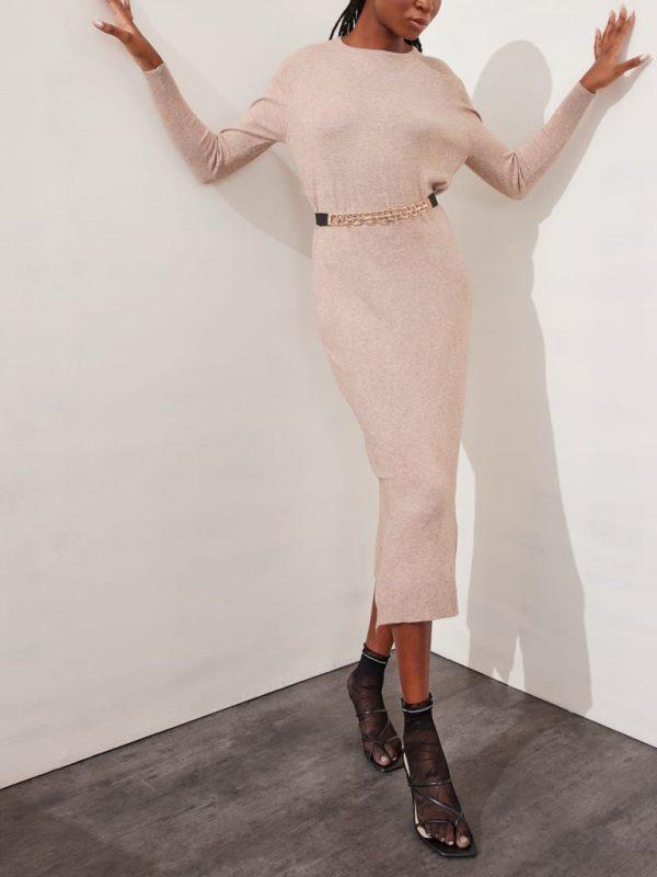 Φόρεμα midi oversized λαιμόκοψη