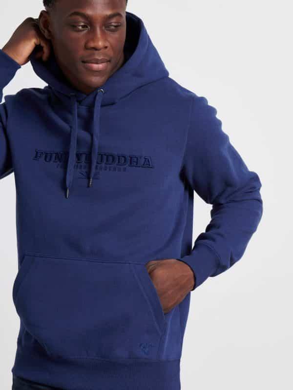 Φούτερ με κουκούλα και κεντημένο λογότυπο - Μπλε