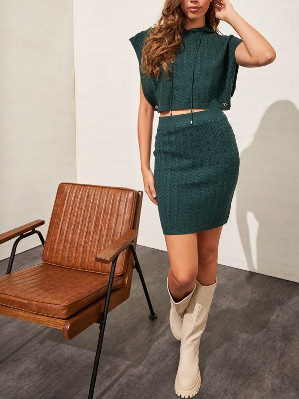 Φούστα mini πλεκτή & Top πλεκτό - Πράσινο σκούρο